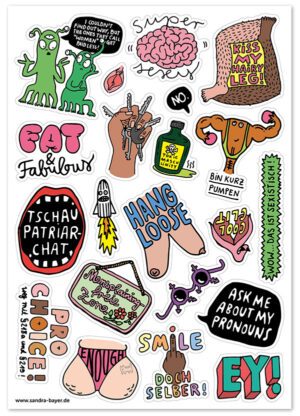Stickerbogen Feminismus Sandra Bayer Illustration